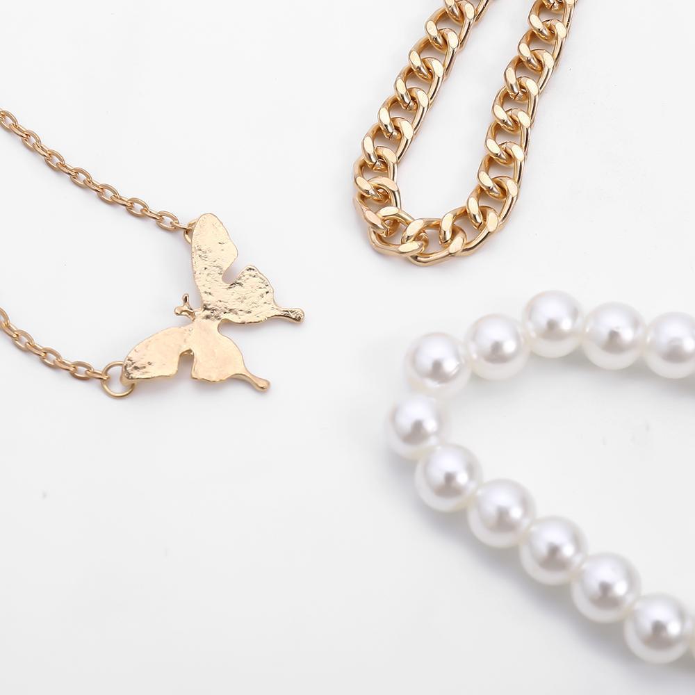 Boho Butterfly Bracelet Set Set 3PCS Gold Color Chain Lien Bangels Baroque Pearl Femmes Bracelet Bracelet Bijoux de poignet Charme