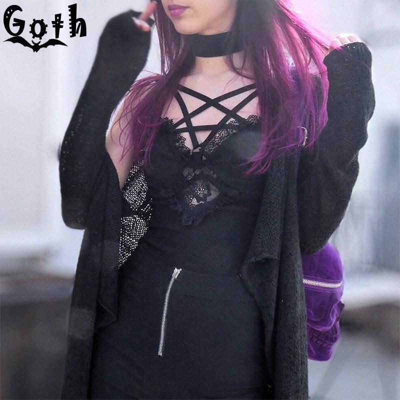 Kadın Tankları Camis Goth Bodycon Seksi Siyah Gotik Pengram Oymak Kolsuz Dantel Tank Tops Streetwear Punk Camisoles Harajuku Top