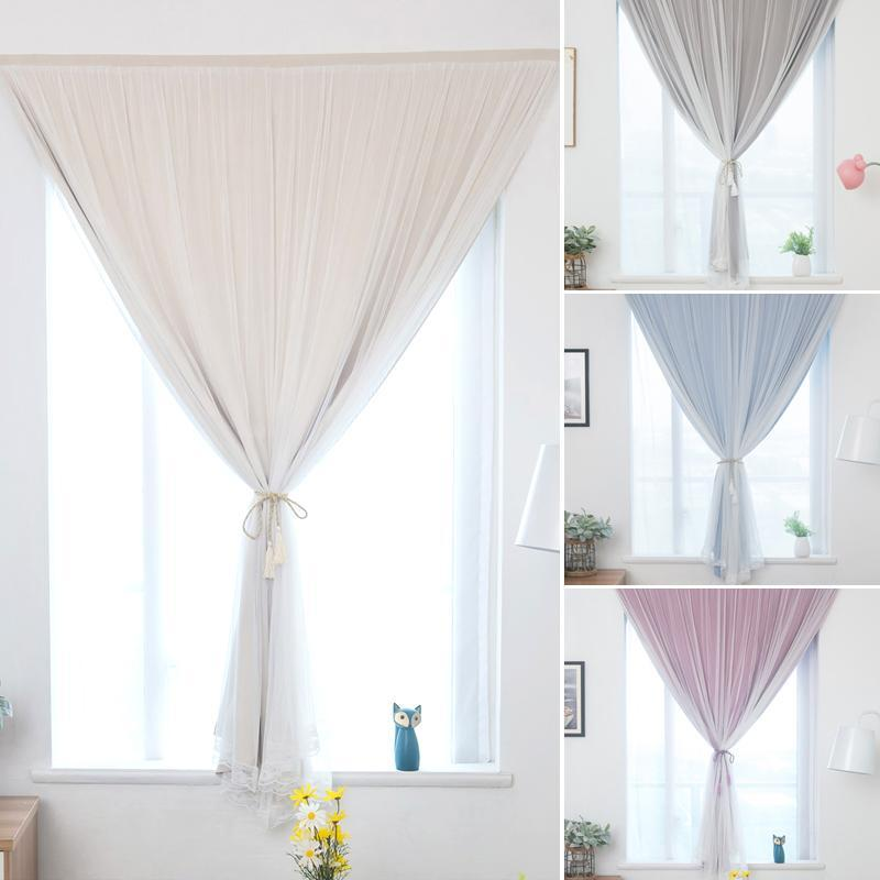 Curtain & Drapes Punch Free Curtains Blackout Window Decor Bedroom Living Room Double-Layer Yarn Decoration Shading Blind Drape