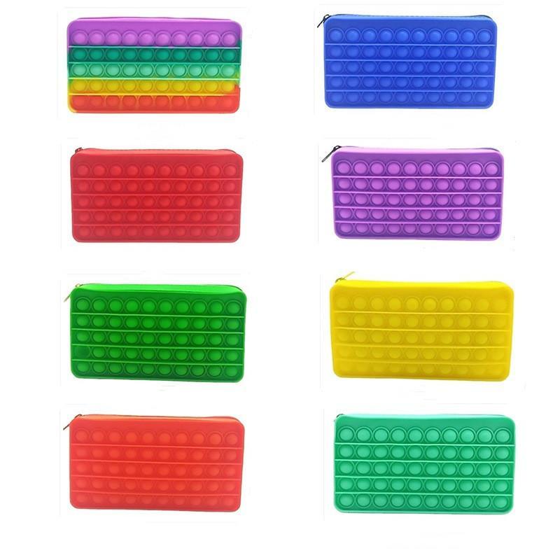 Fidget Toys Portafoglio Caso a matita colorato Push Bubble Sensory Squishy Stress Stress Reliever Autismo Ha bisogno Anti-stress Rainbow Adult Decompressione giocattolo per bambini