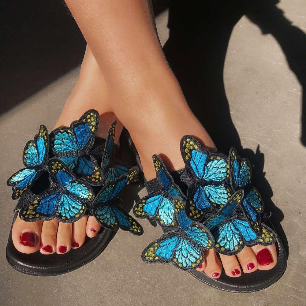 Лето вышивка Flopwomen Flopwomen Трехмерные сандалии бабочек