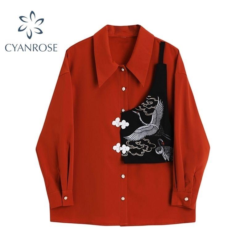 Autunno Autunno Manica Patchwork Camicetta Donne Coreano Casual Moda Doppia Giù Colletto Streetwear Streetwear Shirt rossa BlusAS femminile Top 210515
