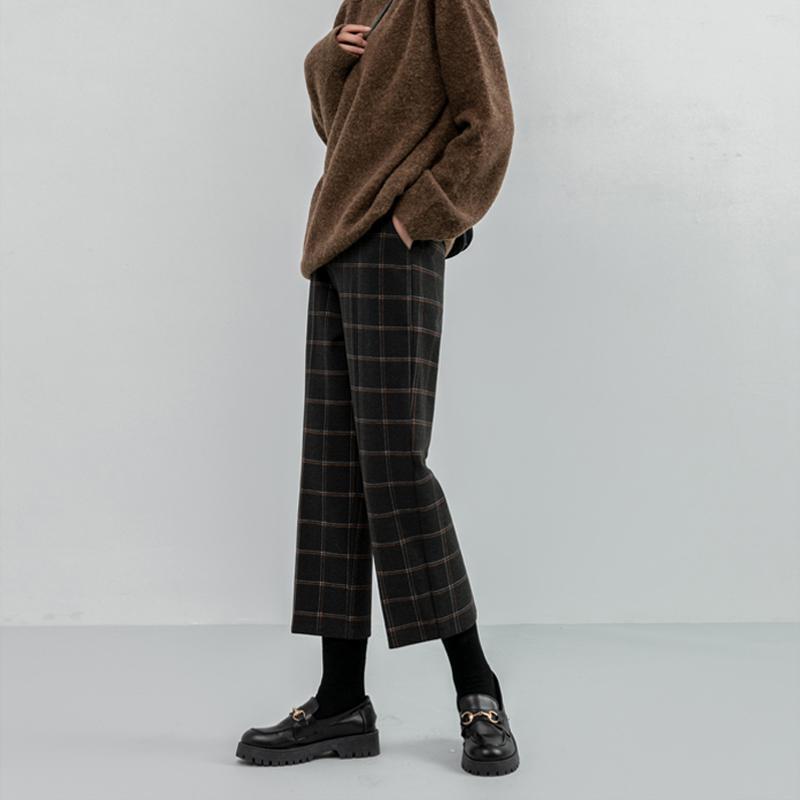 Костюм брюки Женщины Высокая талия пледа для прямой Гарм Лодыжки Длина лодыжки Свободные шерстяные проверенные модные женские капризы