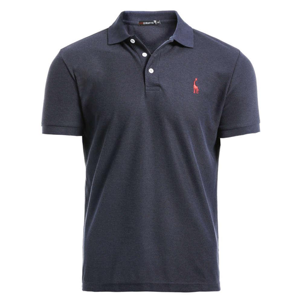 Новая мужская рубашка мужская повседневная олень вышивка хлопчатобумажная рубашка мужчины с коротким рукавом