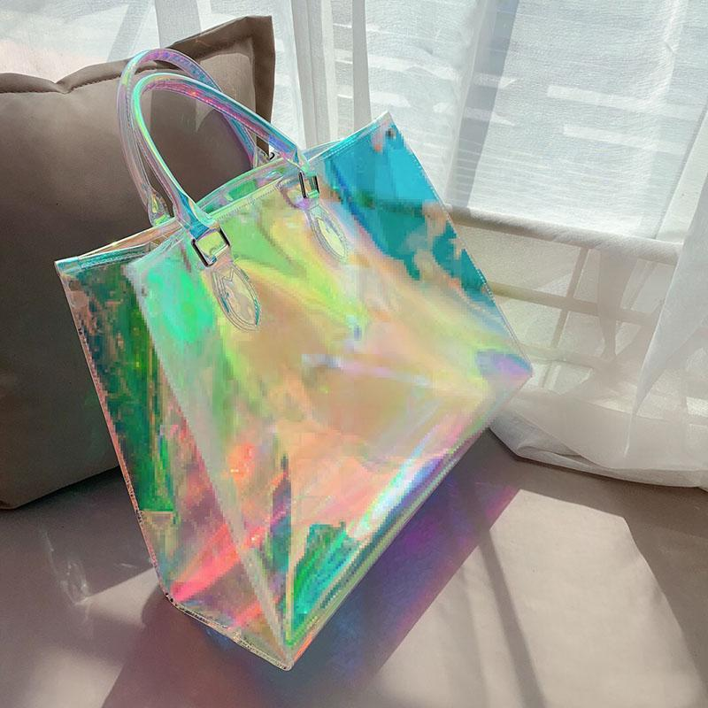 Newset Rainbow Alma BB Sacos de Impressão Bolsas Clear Embraiagem Laser Flash PVC Embreagens Bolsa Transparente Duffle Personagem Crossbody Sacola Bolsa