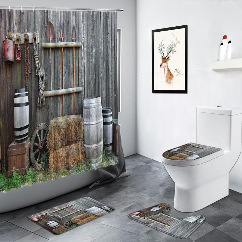 Chuveiro cortinas retrô velha cortina de celeiro vintage vintage porta de madeira porta verde planta banheiro decoração antiderrapante tapete de banho esteira