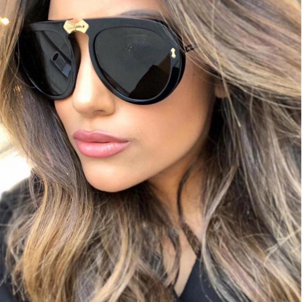 2020 Новый Модный Знаменитый дизайн Урожай Стимпанк Пилотные Солнцезащитные Очки Женщины Мужчины Diamond Frame Filp Вверх Сгиб Солнцезащитные Очки