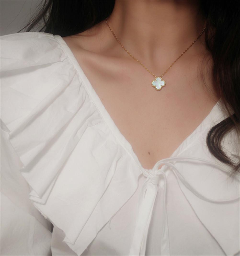 Mode Achat 4 / Vier Blattklee Lange Blumen Anhänger Halskette Malachit Kette Für Womengirls Valentinstag Muttertag Engagement Schmuck Geschenk