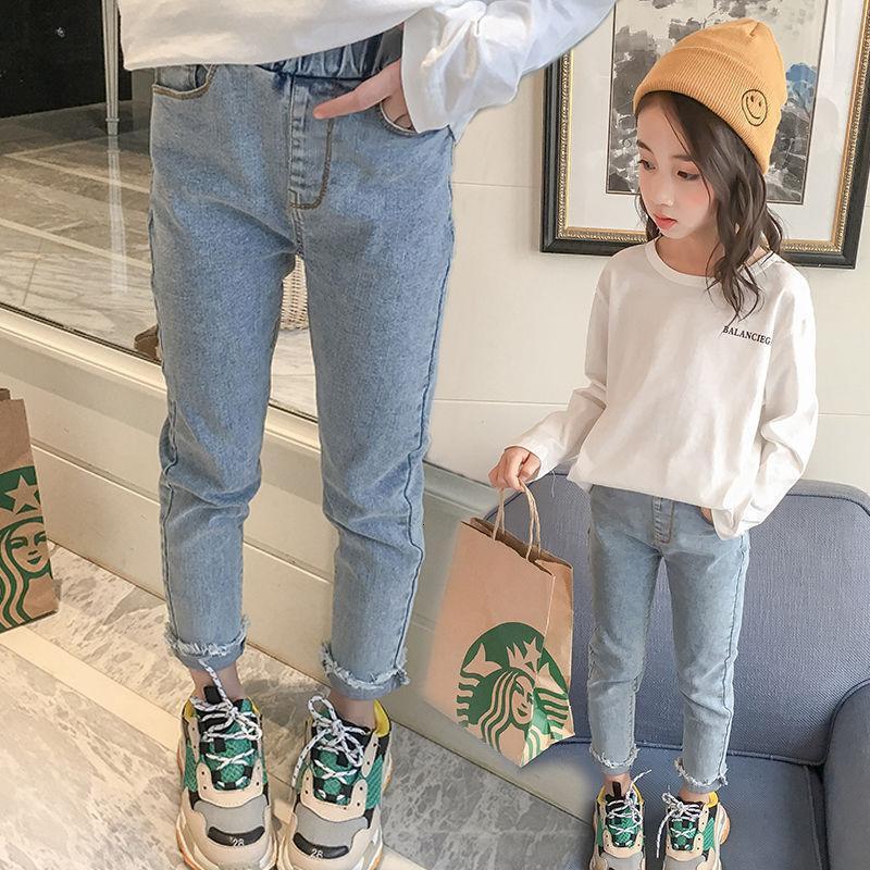 Mädchen Jeans 2021 Neue Frühlings- und Herbsthose Koreanische Mode Kinder Casual Hose
