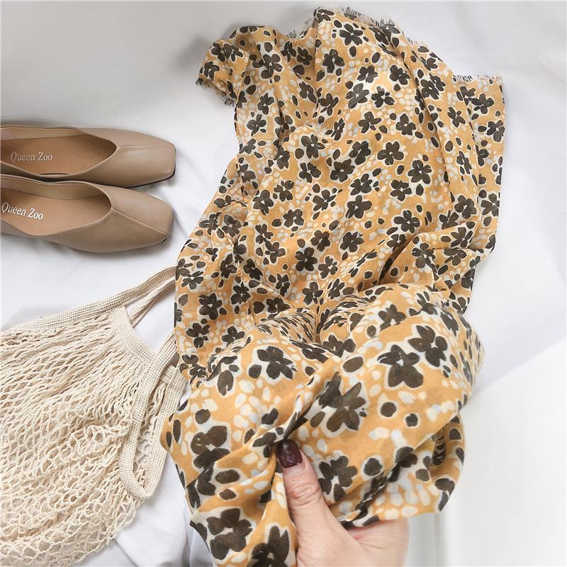 Chals chal verano pequeño flor de seda de seda delgada primavera otoño playa toalla súper grande protector solar