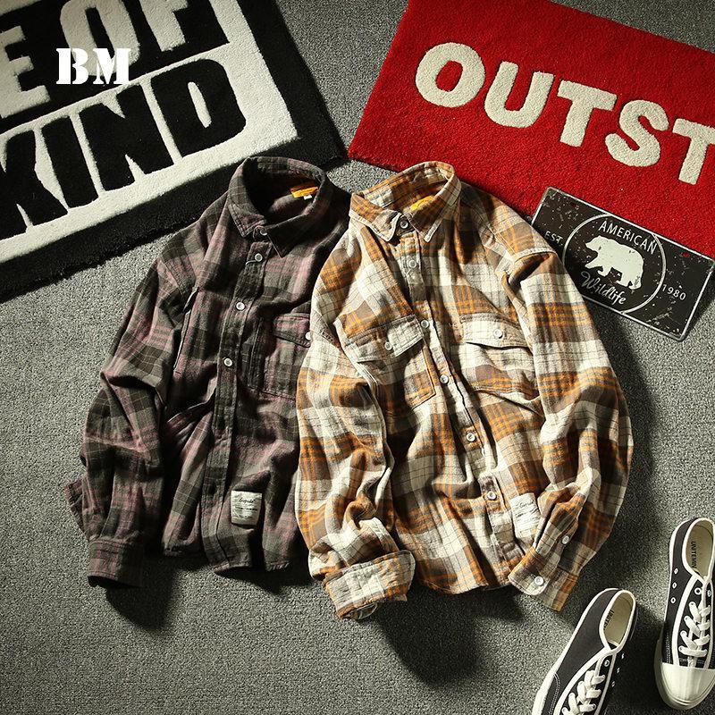 봄 패션 일본가의 웨스트 고품질 옷깃 격자 무늬 셔츠 남성 의류 하라주쿠 코트 한국 커플 의류 남성 캐주얼 셔츠