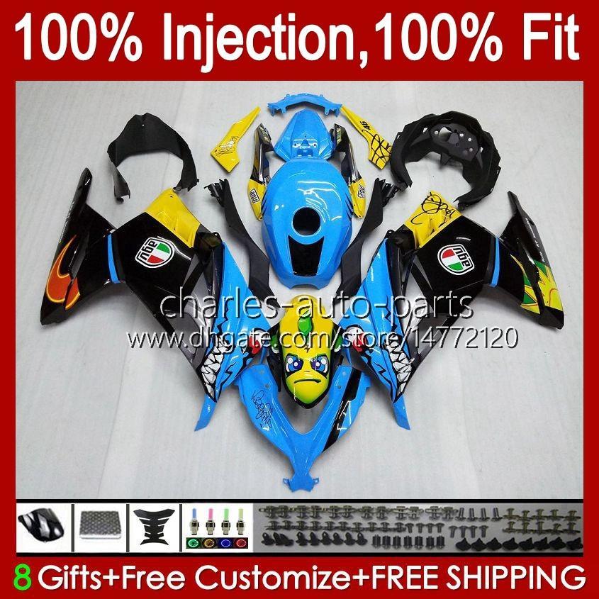 Corps de moule d'injection pour kawasaki EX300 ZX3R ZX 300R ZX 3R ZX-300R 27HC.0 EX300R ZX-3R 13 14 15 16 17 EX-300 ZX300R 2013 2014 2015 2016 Kit de carénage OEM Shark Fish Bleu