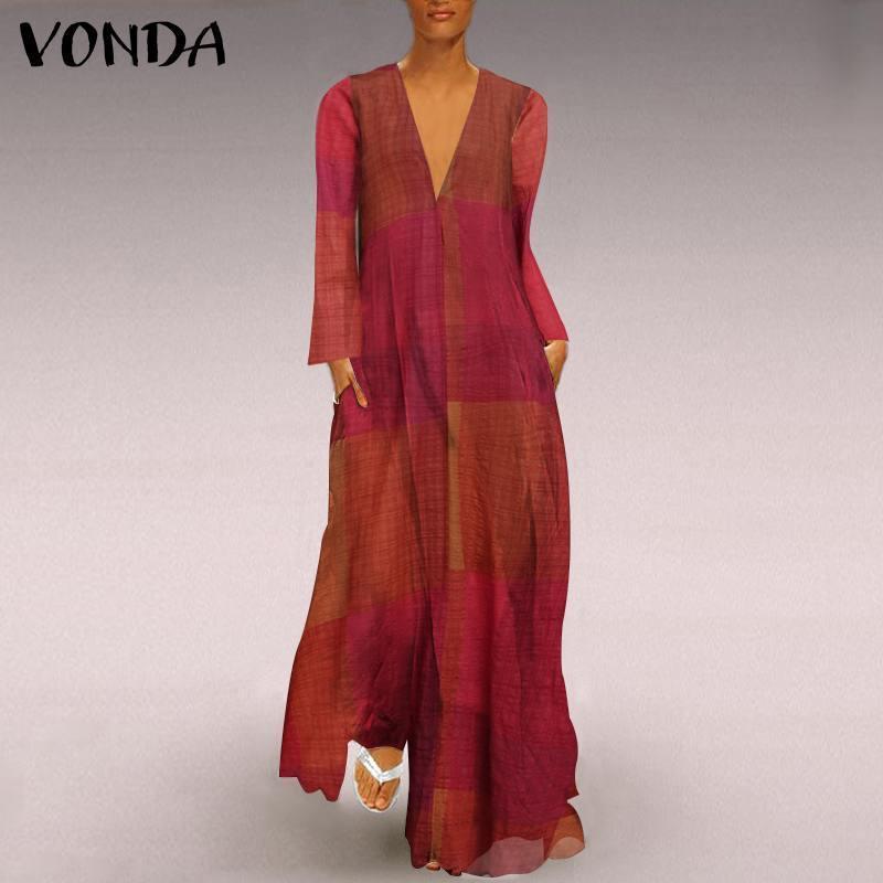 Sexy V-образные вырезывающие платья повседневные длинные рукава халат Vestidos Retro Maxi платье 2021 лоскутное напечатанное женская осенняя сарафана