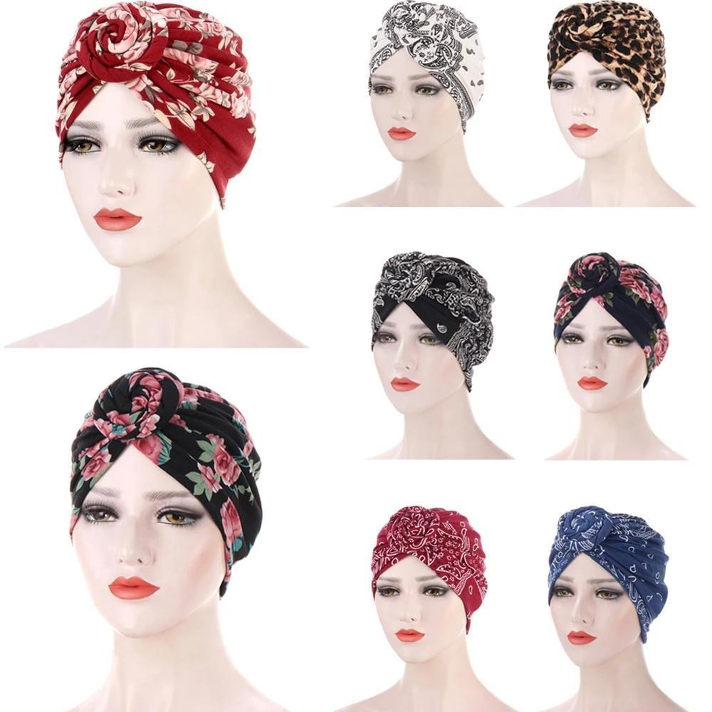 Fashion Floral Printed Muslim Hijab Turban Round Top Knot Bonnet Hat Flower Head Cover Headscarf Bohemian Women Muslim Cap