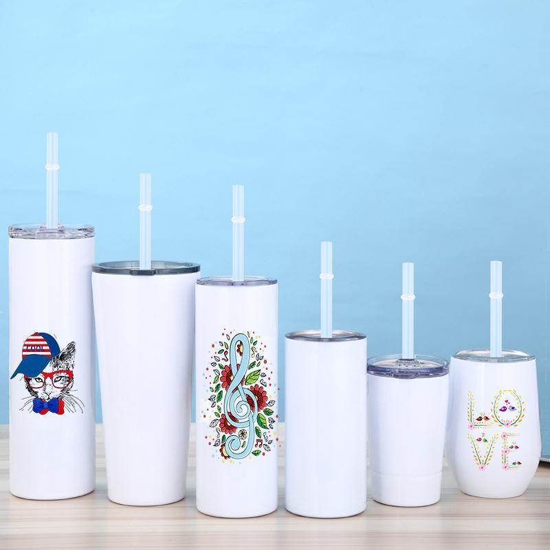 15oz / 20oz em linha reta sublimação em branco copo de aço inoxidável copo de leite de leite duplo de parede de vácuo de parede com tampa selada e palha