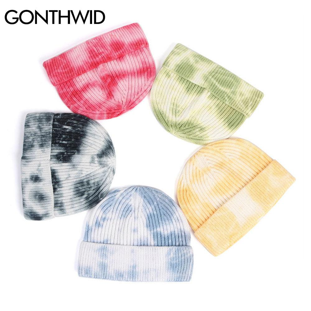 GONTHWID Punto Teñido Dye Gorros Sombreros Planeos Beanie Knit Ski Cap Casual Skull Color Sólido Color Invierno Blanco Bonnets C0315