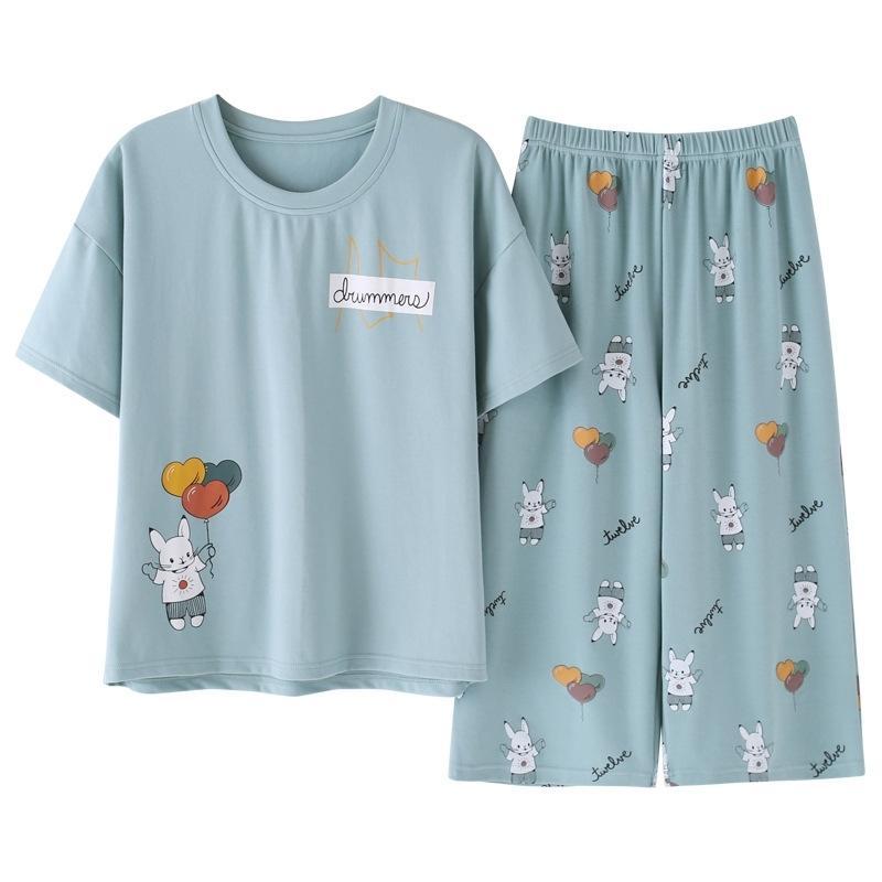 Кролик ястреб новый пижамный набор летних хлопка женские сладкие мультфильм короткий рукав две части домашняя одежда женщины шорты пижамы 210326