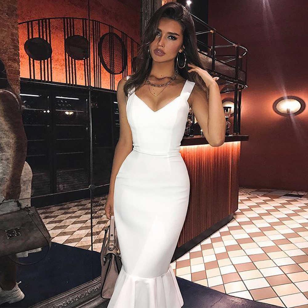 Bandage Dress for Women Summer White Bodycon Dress Mermaid Black Red Sexy Party Dress Evening Club Birthday Outfits 210608