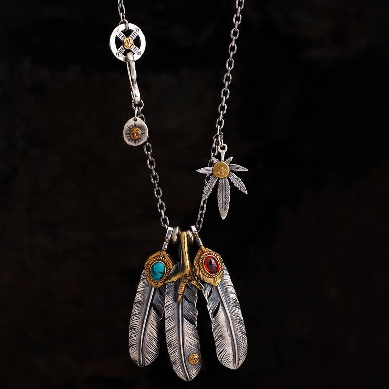 Colares S925 Sterling Silver Jewelry Takahashi Goro Turquesa Pena Colar Feminino Camisola Masculina