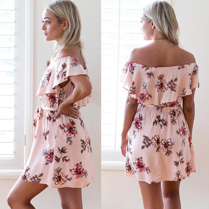 Vestidos casuais elegante feminino casual estilo de férias impresso saia de macacão floral