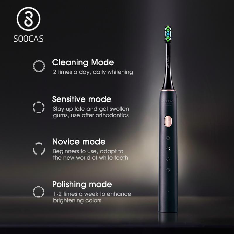 Soocas Sonic Elektrikli Diş Fırçası X3U Yükseltilmiş Akıllı Diş Fırçası Ultrasonik Otomatik Fırça Su Geçirmez USB TPYE-C Hızlı Şarj 201113
