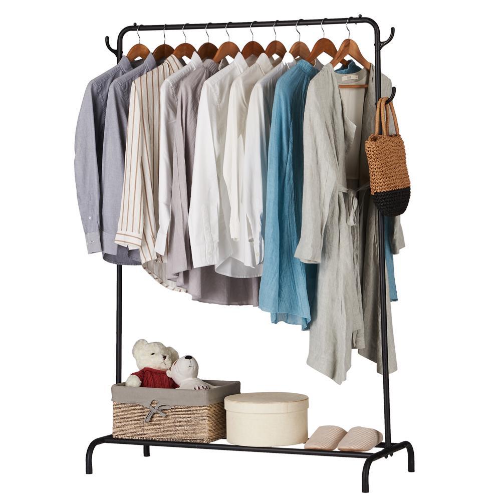 الملابس السوداء الملابس الملابس الثقيلة التجاري الصف الملابس الوقوف مع أعلى قضيب هوك وانخفاض رف التخزين