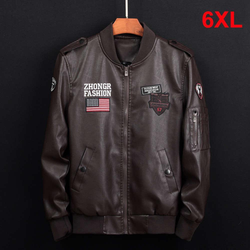 2020 Primavera PU Giacca in pelle Cappotto Cappotto Casual Casual di alta Qualità Volo Bomber Giacche Pilota Cappotti Abbigliamento da marca maschile Plus Size 6XL