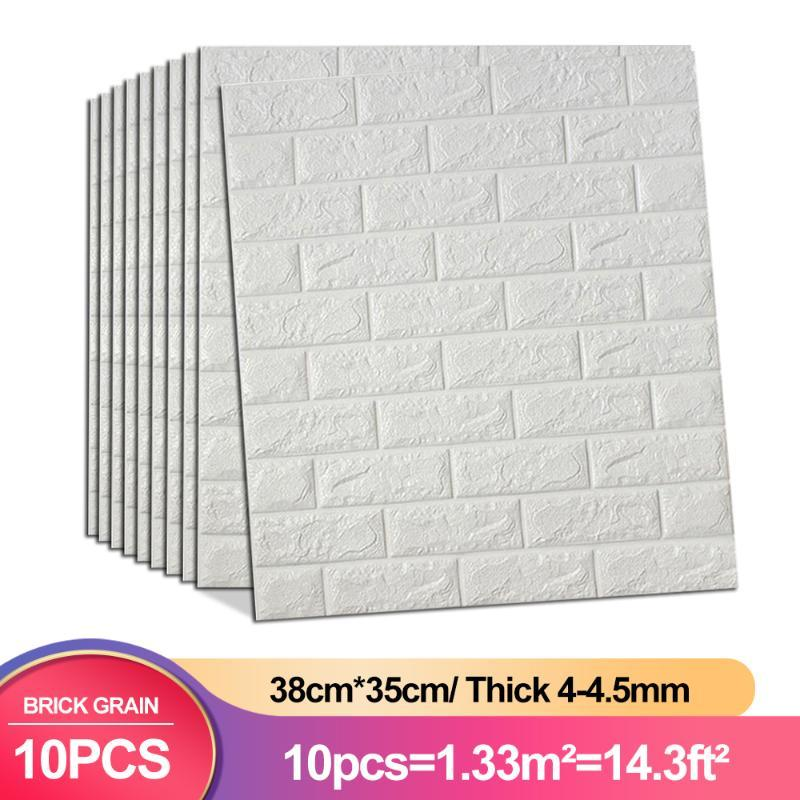 Wall Stickers 10pcs 38*35cm Brick Sticker TV Background Waterproof Anti-Collision Foam Wallpaper Self-Adhesive For Living Room Bedroom