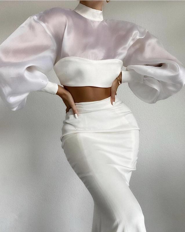 스커트 여성 럭셔리 섹시 슬리브 메쉬 화이트 맥시 긴 두 조각 붕대 2021 유명인 디자이너 패션 겨울 여성 세트