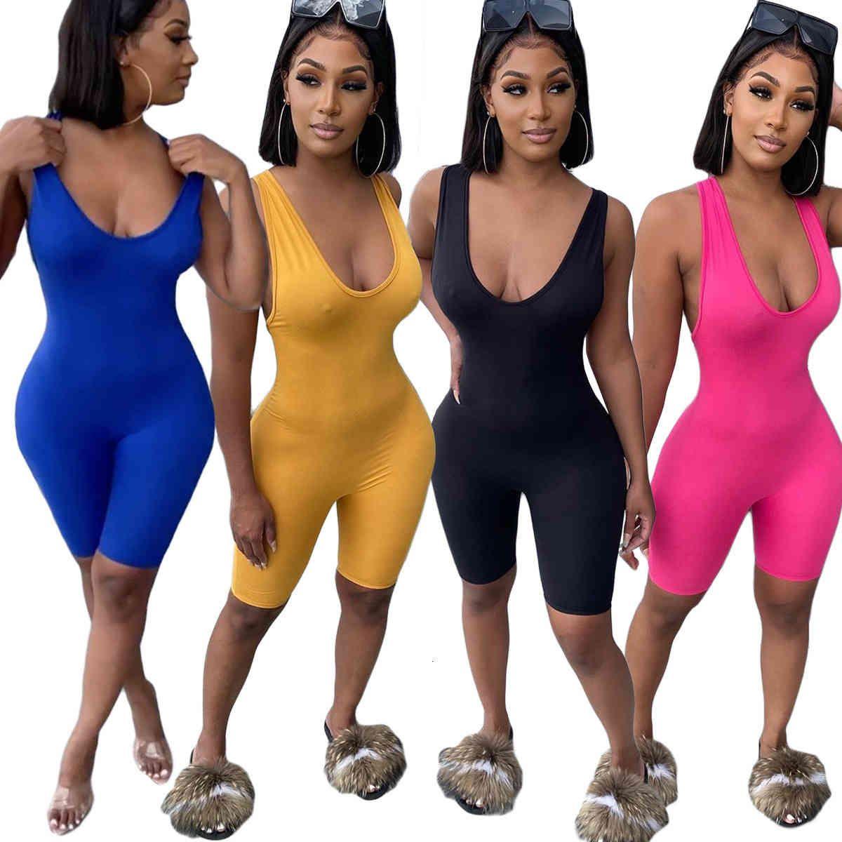 Kadın Tulum Ince Seksi Katı Renk Kolsuz V Yaka Kısa Pantolon Çapraz Sapanlar Backless Bayanlar Yeni Moda Giyim IN Yaz Tulum 2020