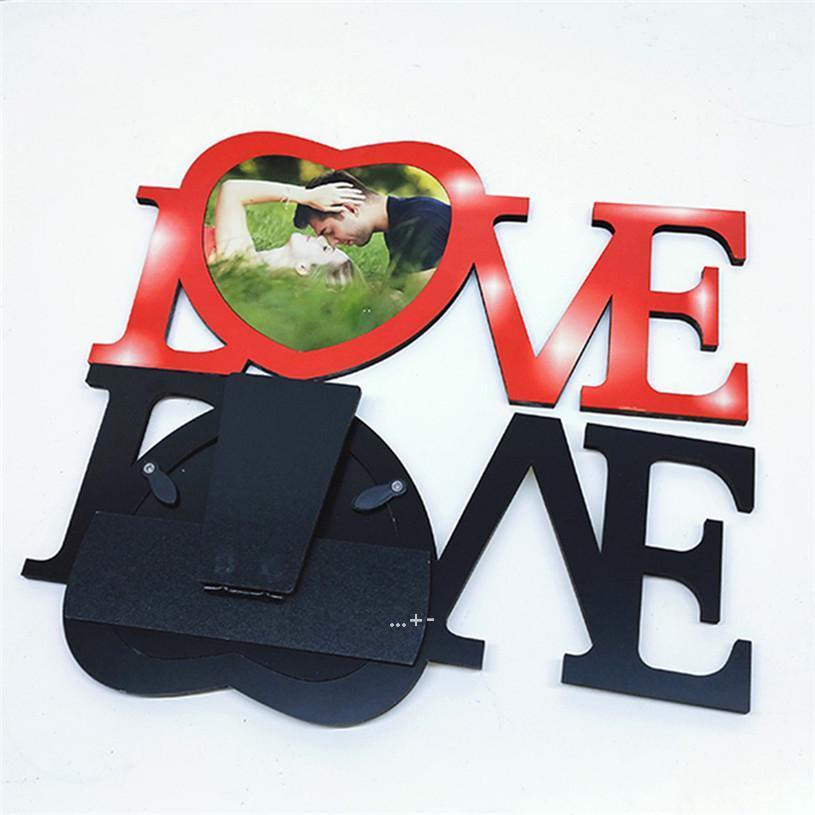 Newblank Sublimation Transferência Térmica Amor Coração Forma De Madeira Personalizado DIY Calor Impressão De Mesa De Mesa De Mesa De Mesa Para Valentim LLD8858