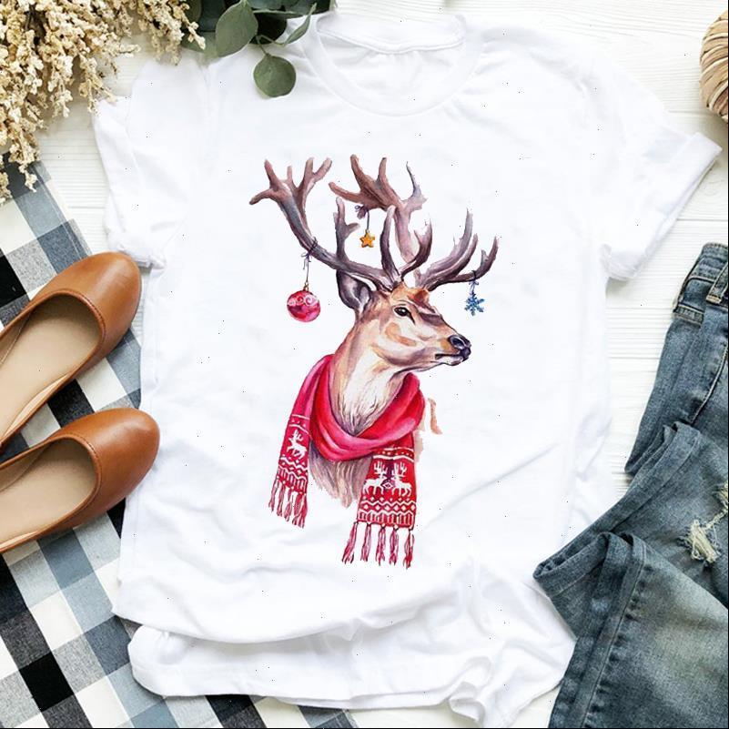 Frauen tops Cartoon Deer Tiermode 90er Jahre Trendurlaub Frohe Weihnachten Kleidung Damen Grafikdrucken T-top Tshirt Weibliche t