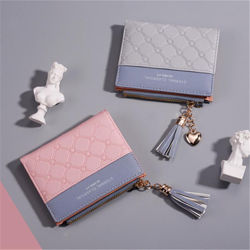 Wallets Ladies Short Wallet Embossed Zipper Handbag Tassel Luxury Soft Leather Simple Coin Purse