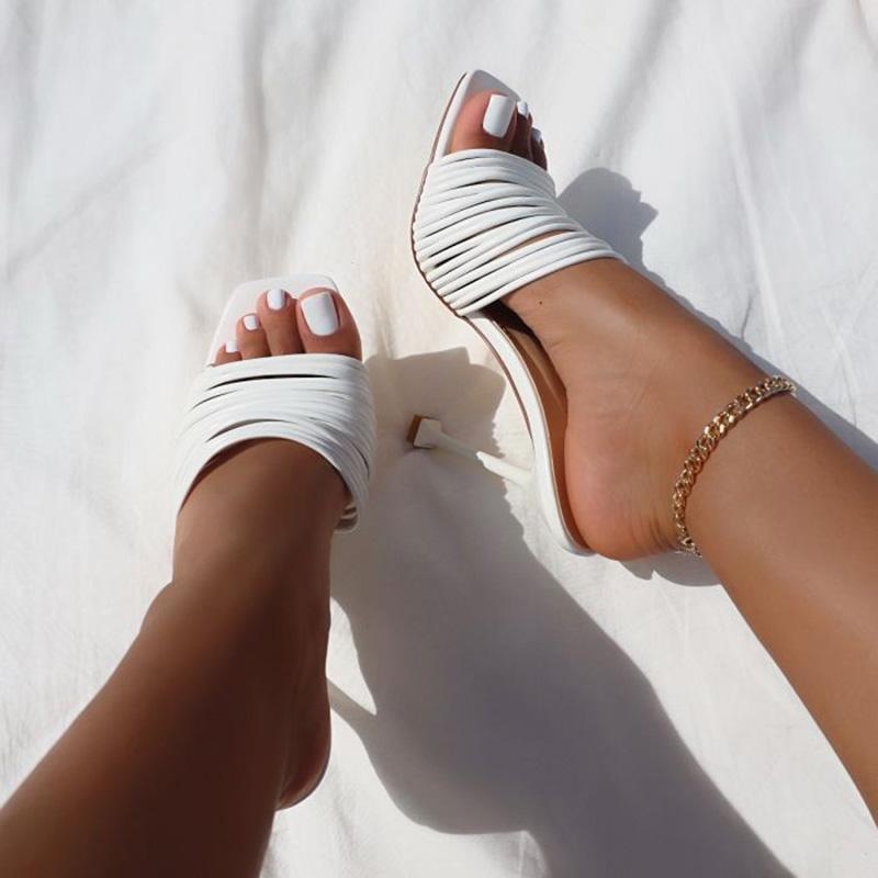 Mujeres tacones altos zapatillas zapatos mujer damas mulas bombas moda dama femenina afuera para