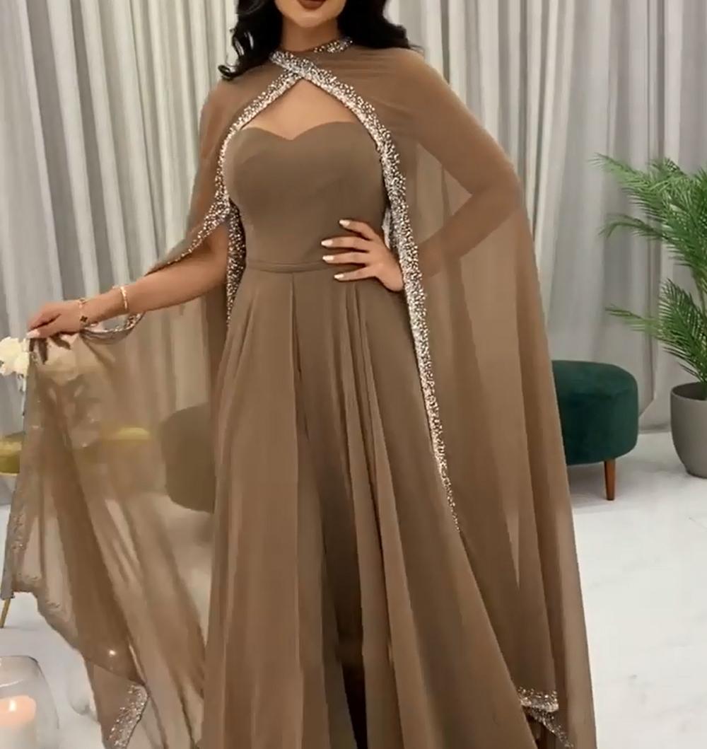 Sweetheart bal robes de plancher longueur balayer train deux pièces costume de mousseline de mousseline cristal perles de célébrités