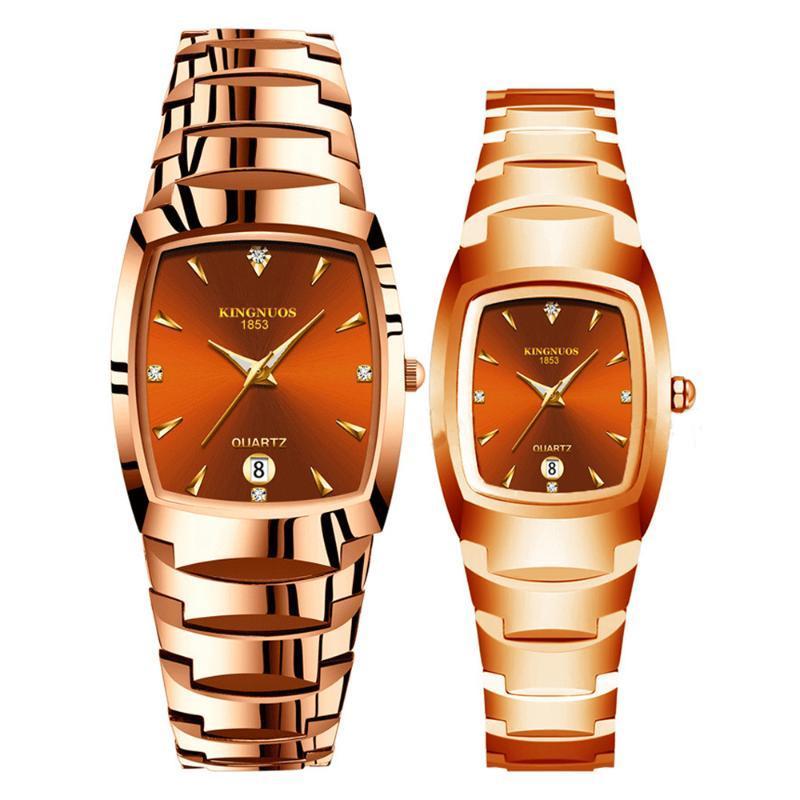 Armbanduhren Kingnuos Luxus Paar Watch Goldene Mode Edelstahlliebhaber Quarz Armbanduhren Für Frauen Männer Analog