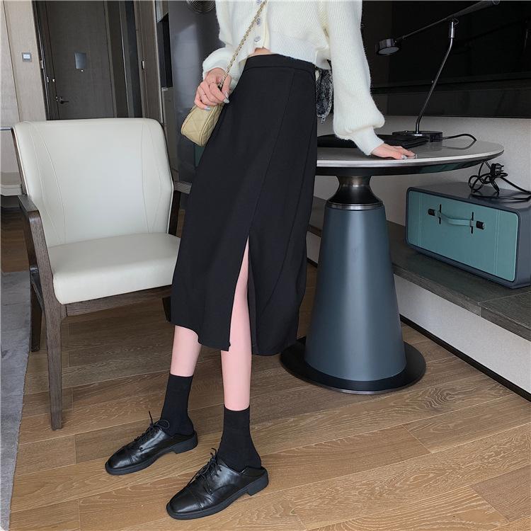 Saia de fenda lateral primavera e verão 2021 novo elegante saia preta meados de comprimento de cintura de cintura de emagrecimento saia