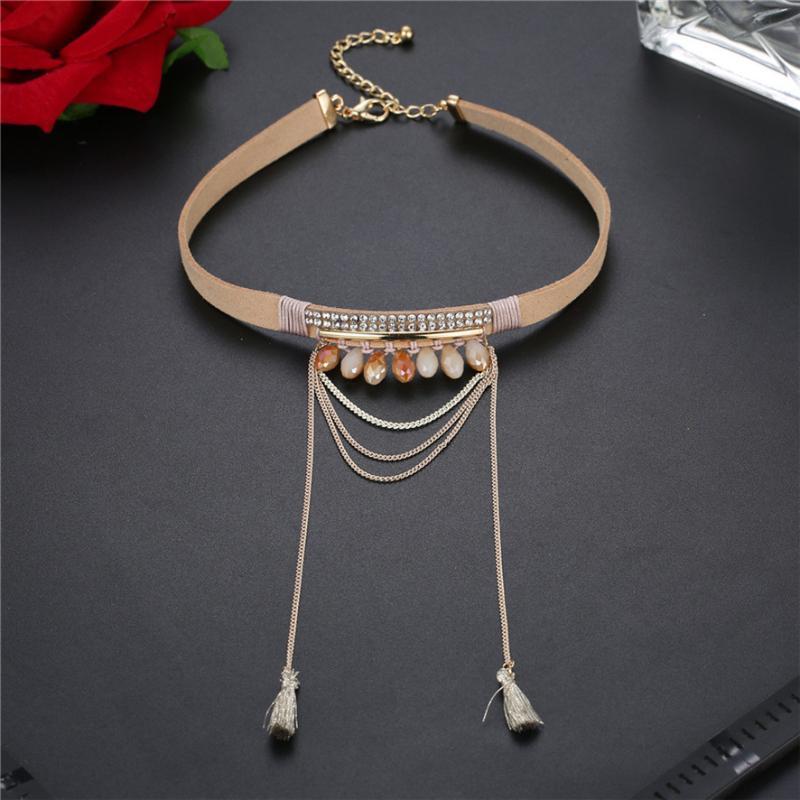 Choker Halsketten Anhänger Link Kette Damen Halskette Acryl Legierung Künstliche Velvet 302510 Chokers