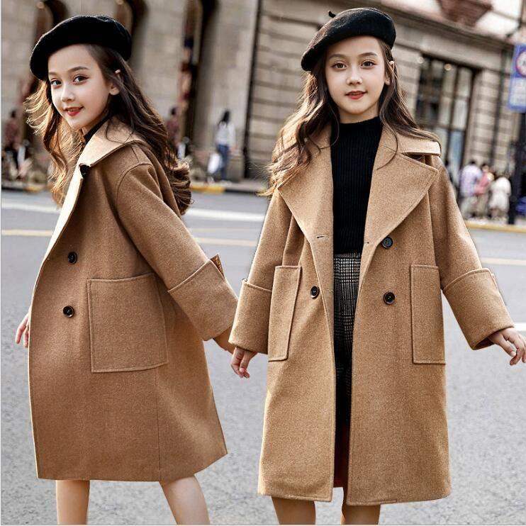 Trench Coat 2021 Winter Long Moda High-Garde Kids Chaqueta Adolescentes Ropa 6 8 10 12