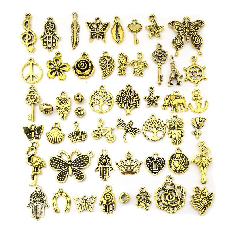 Gold bracelet 100 sets alloy pendant accessories DIY metal trinkets