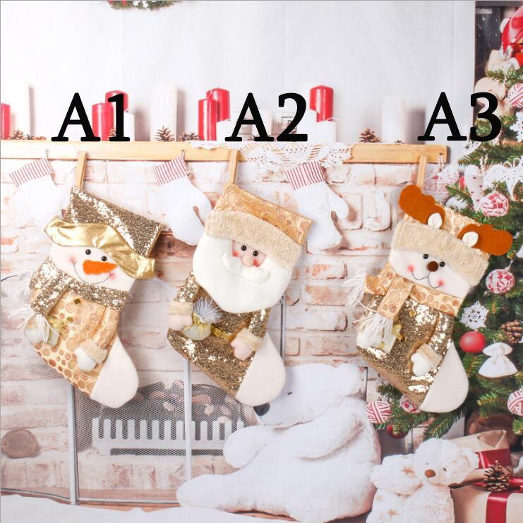 عيد الميلاد الترتر الذهب تخزين سانتا كلوز جورب ثلج قرون الديكور الحلوى هدية حقيبة
