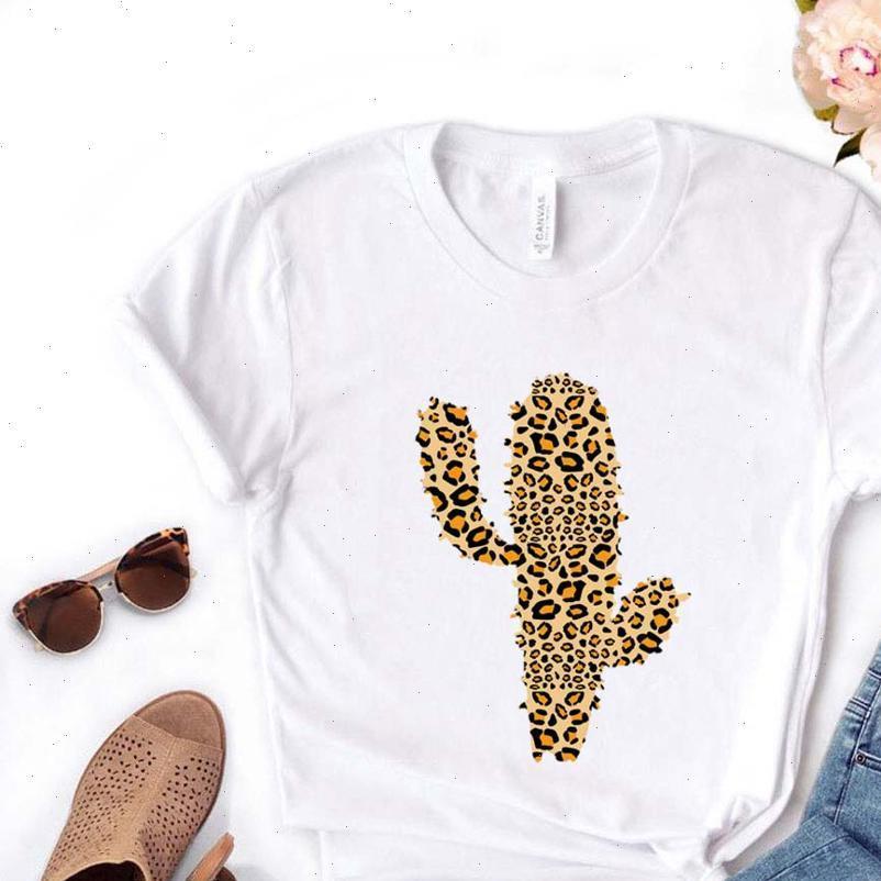 Mulheres de leopardo tops cactus camiseta algodão casual engraçado t camisa presente para senhora yong menina top tee pm 40