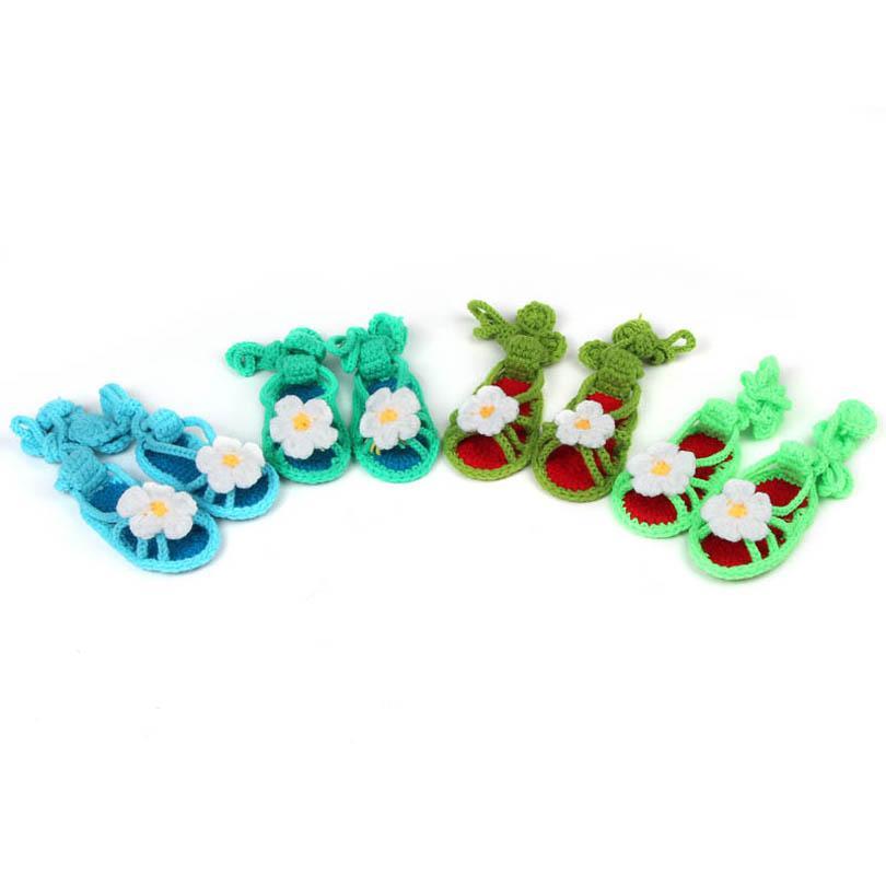 طفل أول مشوا أحذية طفل الرضع الفتيات الأحذية الكروشيه محبوك اليدوية زهرة الاطفال الوليد الصنادل B6705