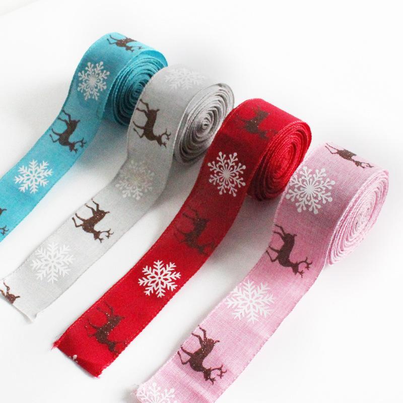 Cinta de Navidad Impreso Grosgrain Cintas de regalo Envoltura de regalo Decoración de la boda Bows Bows Tree Elk Paquete de fiesta de moda colorido ZJTL0165