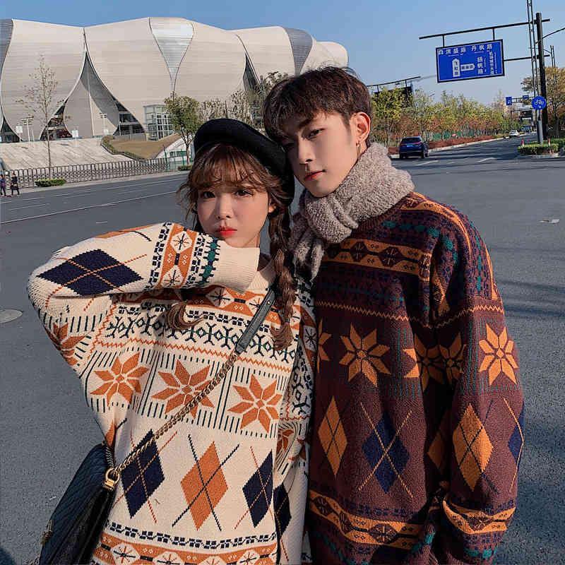 tee 2021 amantes otoño e invierno nuevo todo coincidencia en el mismo color japonés retro exterior desgaste coreano suéter suelto hombres