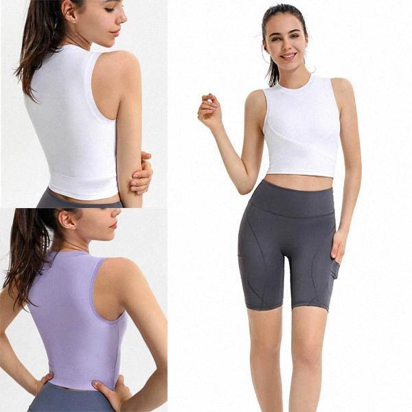 Лу Лулу Йога без рукавов ребристых спортивных танков футболка жилет рубашка женщины спортивные фитнес стремятся утяжелимое наружное носить нижнее белье на улице одежда I62T #