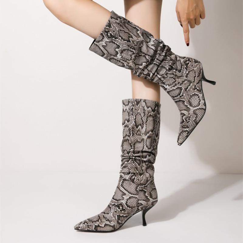 الأحذية مثير الثعبان طباعة النساء الربيع منتصف العجل الأعراد الكعوب مطوي نمط أشار تو مضخات الأزياء في الهواء الطلق