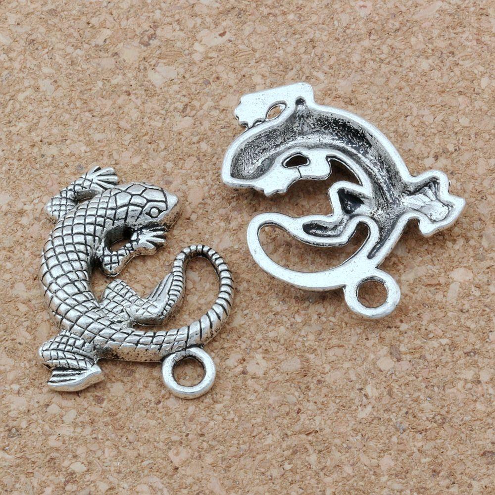 50 unids antiguo plata aleación de zinc lagarto encantos animal colgantes para joyería haciendo pulsera collar hallazgos 27x31mm A-129