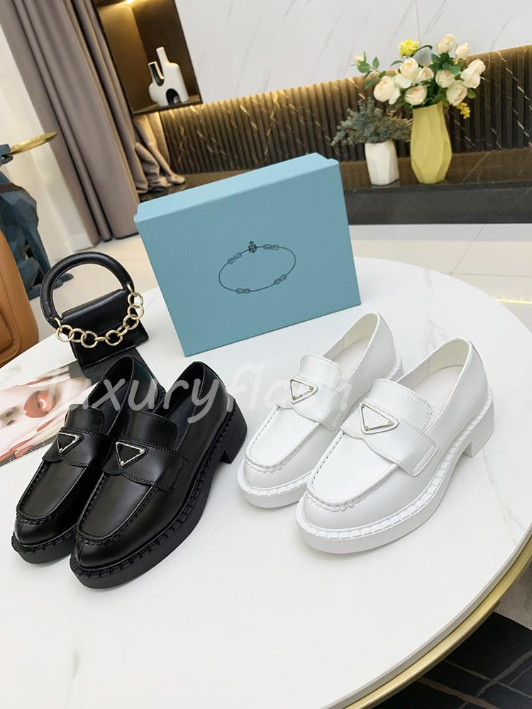 Black White Dress Shoes 2 Color Pgraded Triangle Loafers Women Leather Shoe Spring and Autumn 2021 Designer Oversize Profile Design