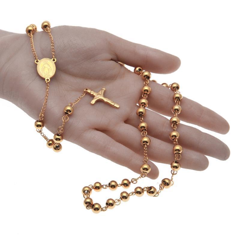 Vintage Rosario Choker Gesù Cristo Crocifisso crocifisso croce Acciaio inossidabile Acciaio inox Unisex Gioielli Pendant Collana lunga per le donne